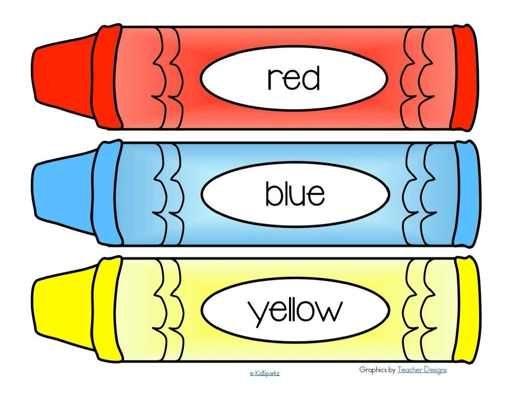 FREE*** Crayons word wall - 11 colors plus a blank b/w crayon. 4 ...
