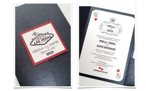 Stella Pocket fold Las Vegas Destination Wedding Invitation vegas