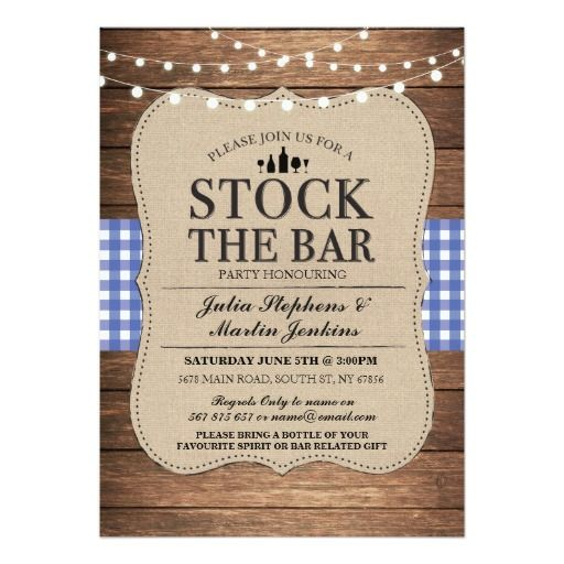 Stock The Bar Blue Rustic Navy Party Invitation  Navy Party