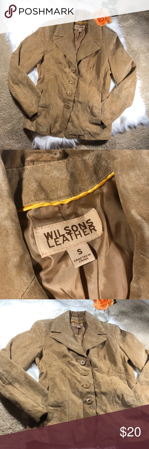 3/21! Wilson's Leather Suede tan coat Clothes design