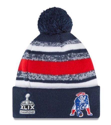 Mens   Womens New England Patriots New Era 2015 NFL XLIX Super Bowl  Champions Throwback On Field Knit Pom Beanie Cap - Navy   Red 494490bf31