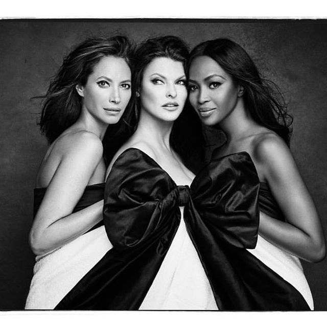 @cturlington @lindaevangelista @iamnaomicampbell...best models in the universe 📷 @patrickdemarchelier #knotonmyplanet  Please make a donation to save the elephants.This photograph is conceived by  Carlyne Cerf, a brilliant visionary. Photograph by Patrick Demarchlier.