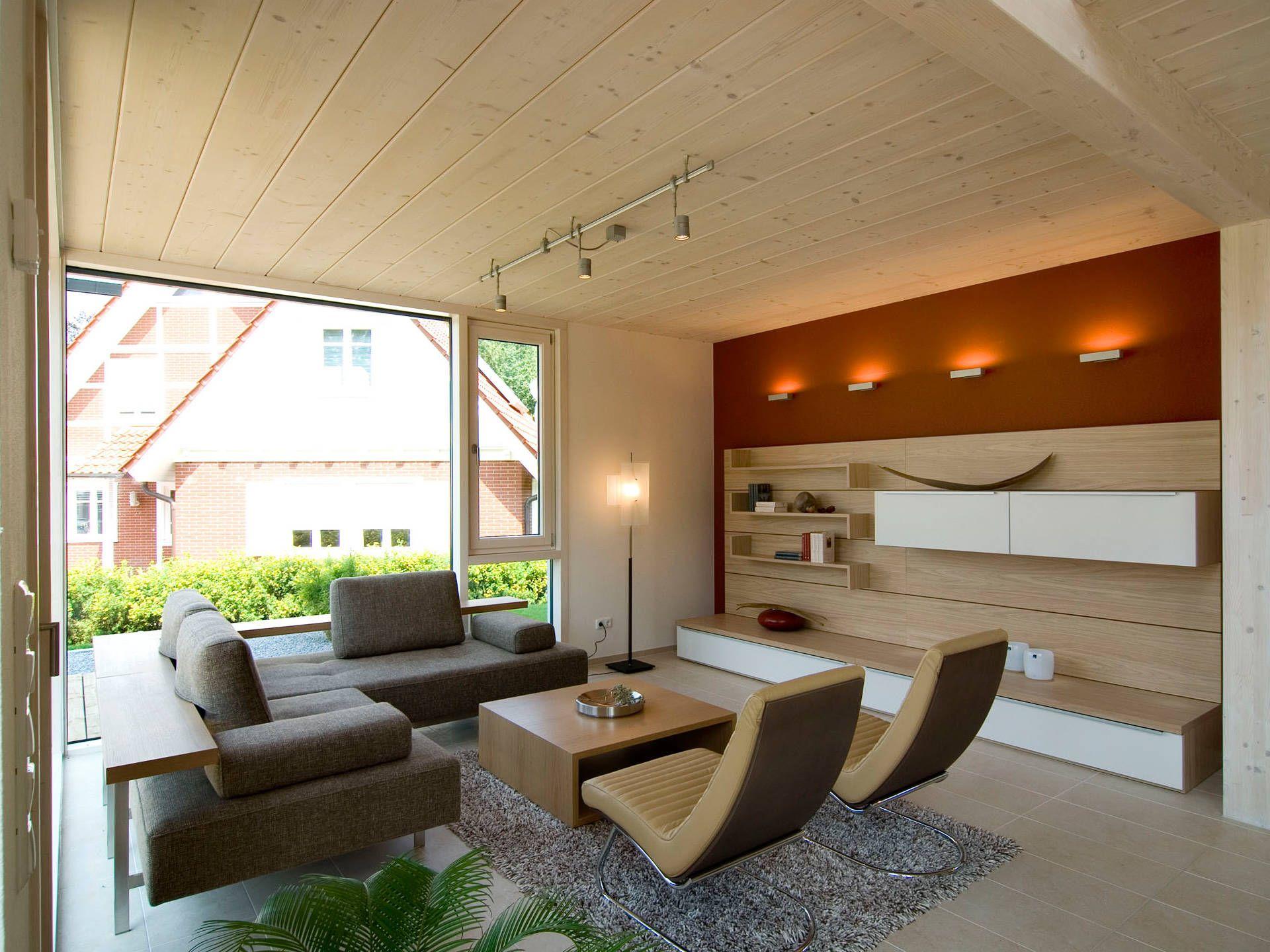 Wohnbereich im Musterhaus Bad Vilbel von Frammelsberger Holzhaus ...