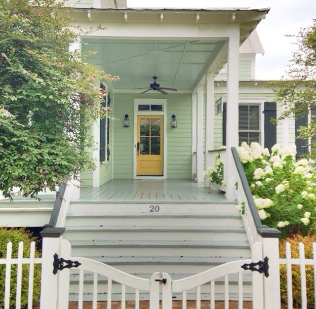 Pistachio House And Mustard Door Adore This Color Combo Exterior House Colors Exterior House Doors House Exterior