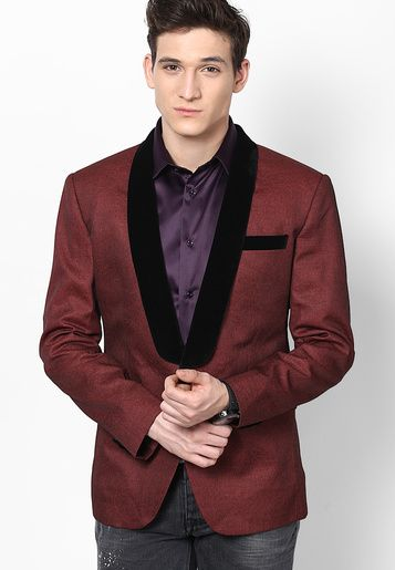 best cheap 0bf87 dbf22 The Design Factory Solid Maroon Blazer - Men Suits   Blazers    TH817MA64OZRINDFAS By Jabong