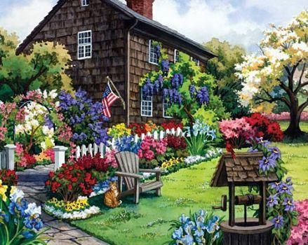 American Garden 48 Pieces Cottage Art Jigsaw Puzzles Garden Art
