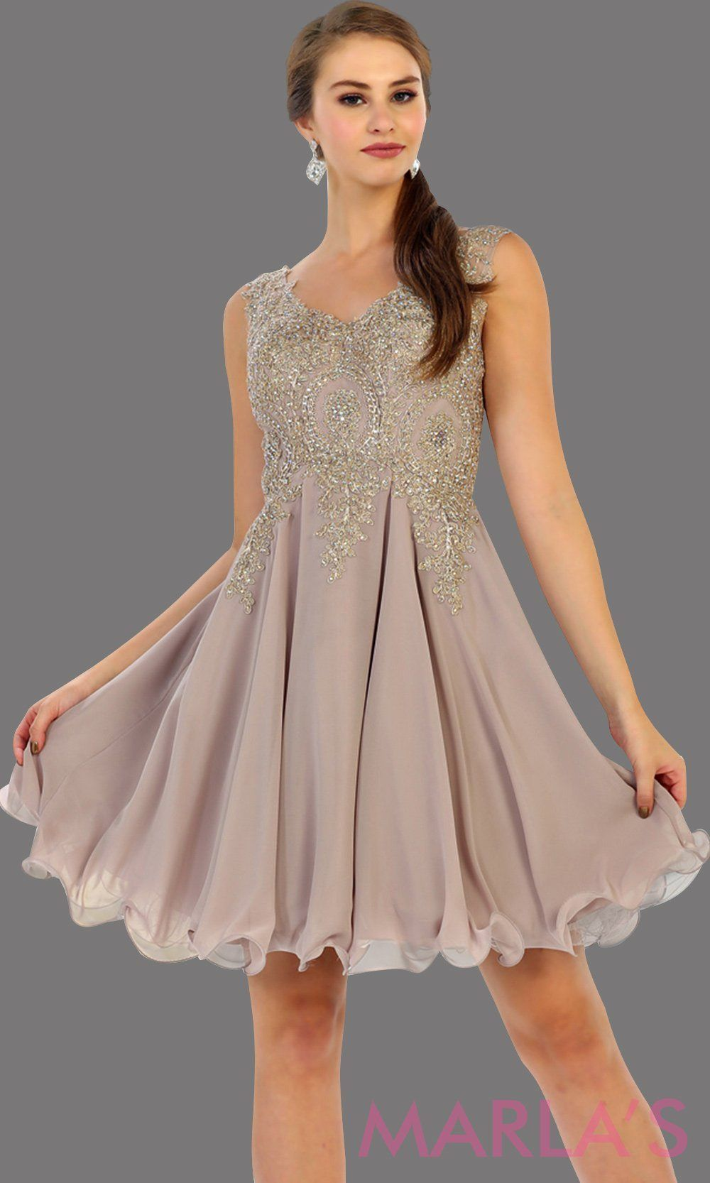 aebb10f6be4 Short flowy mocha dress with gold lace detail on the bodice. This is a  perfect taupe grade 8 graduation dress