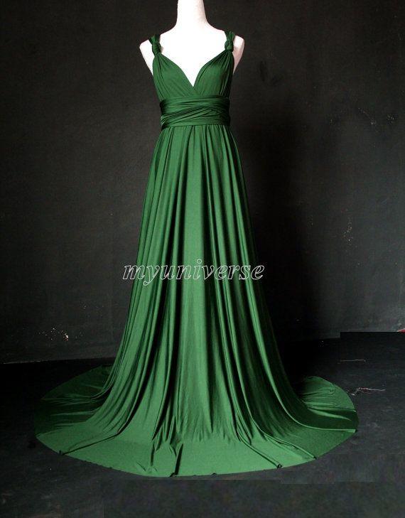 Deep Green Bridesmaid Dress Wedding Dress Infinity Dress Wrap ...