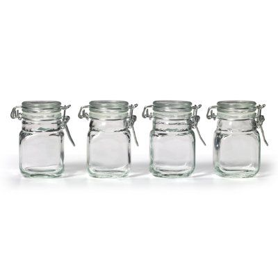 1399 For Set Of 4Kamenstein Square Glass Jar With Hinge Glass Simple Glass Kitchen Containers Decorating Inspiration