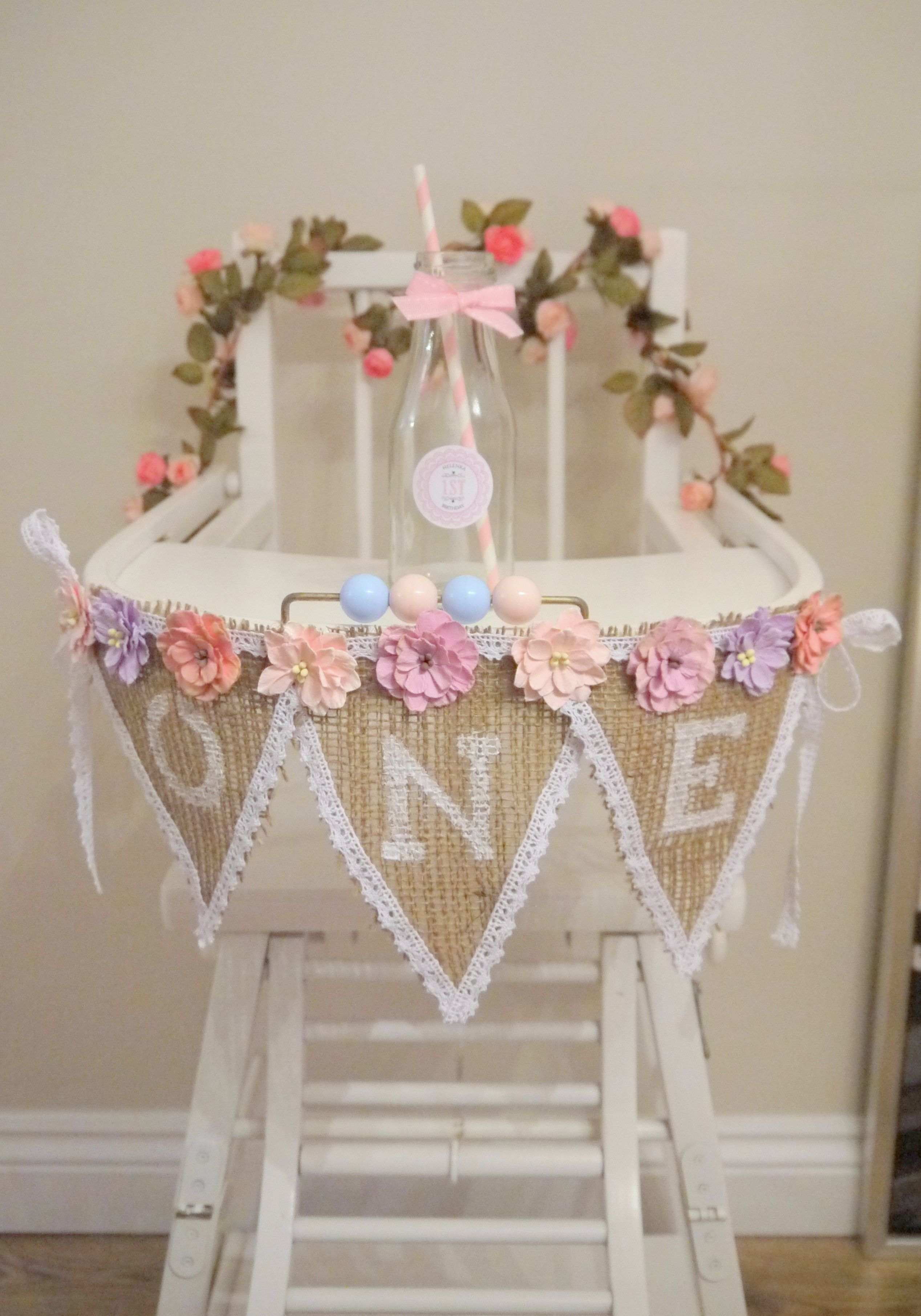 1st Birthday Vintage High Chair With One Bunting And Personalized