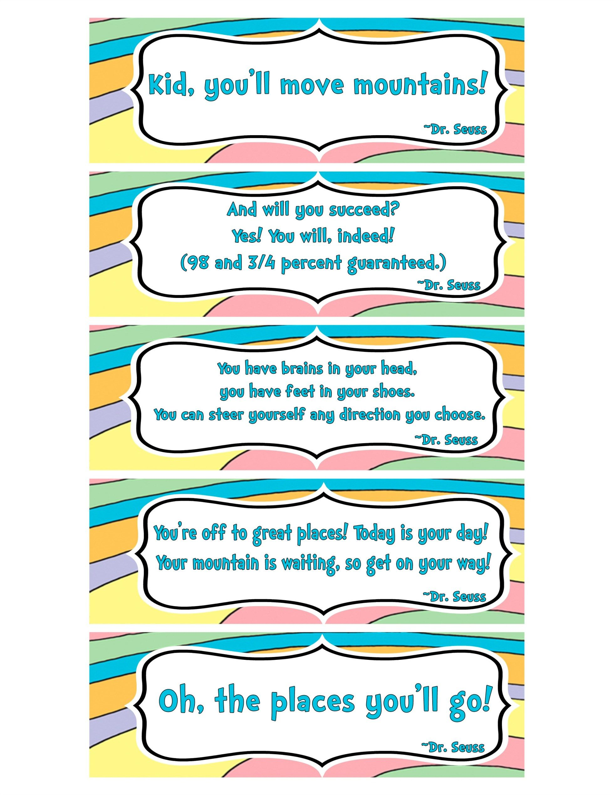 Printable Bookmarks With Famous Quotes From Oh The