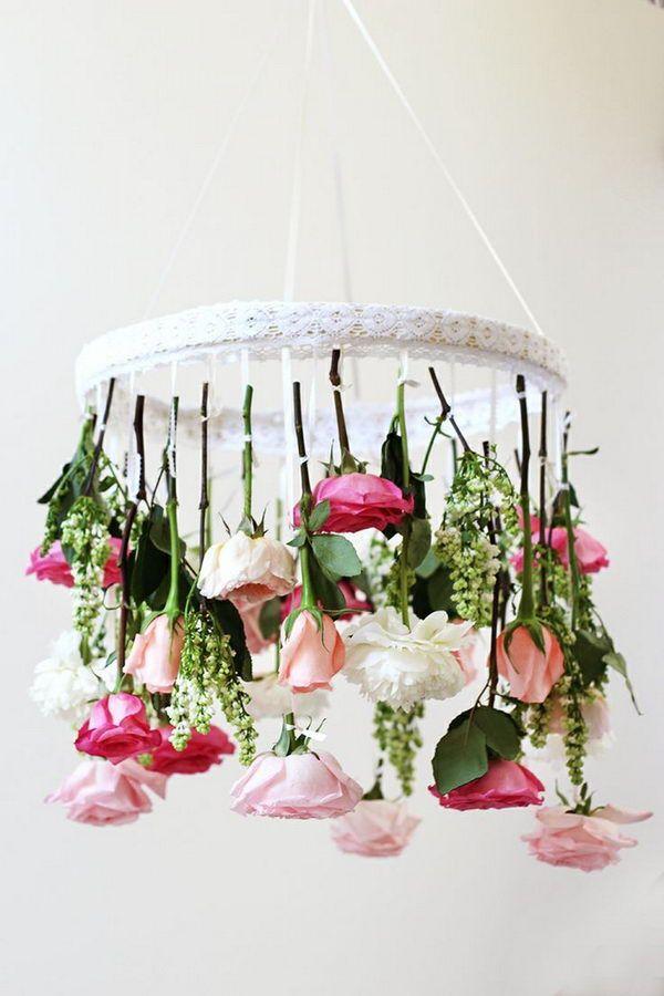 Diy Flower Chandelier Hative Com Cool Ideas For Inspiration