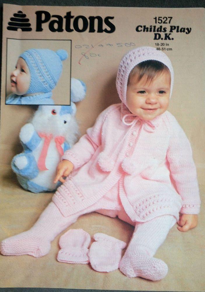 Baby 4-Piece Pram Set vintage knitting pattern Patons DK 8 ply yarn #Patons