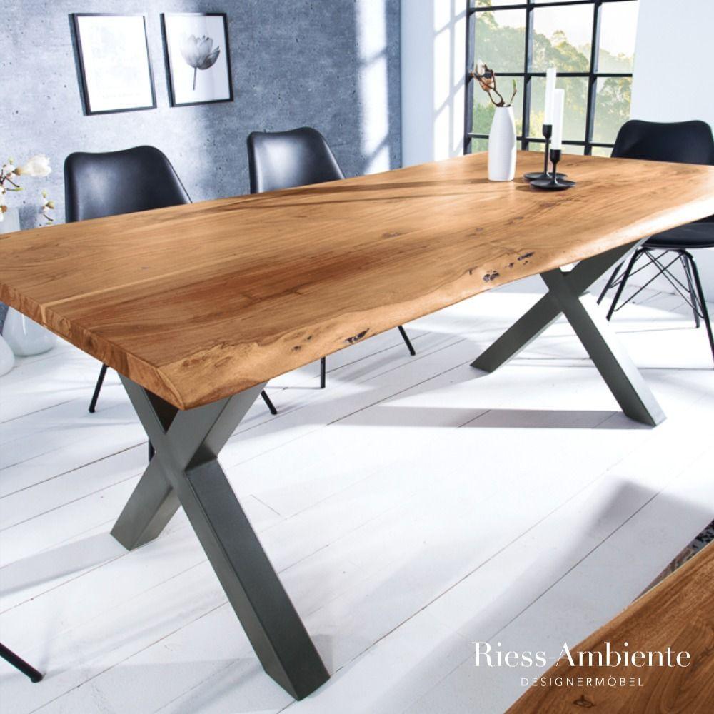 Massiver Baumstamm Tisch Mammut Nature 180cm Akazie Massivholz 3 5cm Dicke Platte In 2020 Baumstamm Tisch Esstisch Industrial Holztisch Ausziehbar