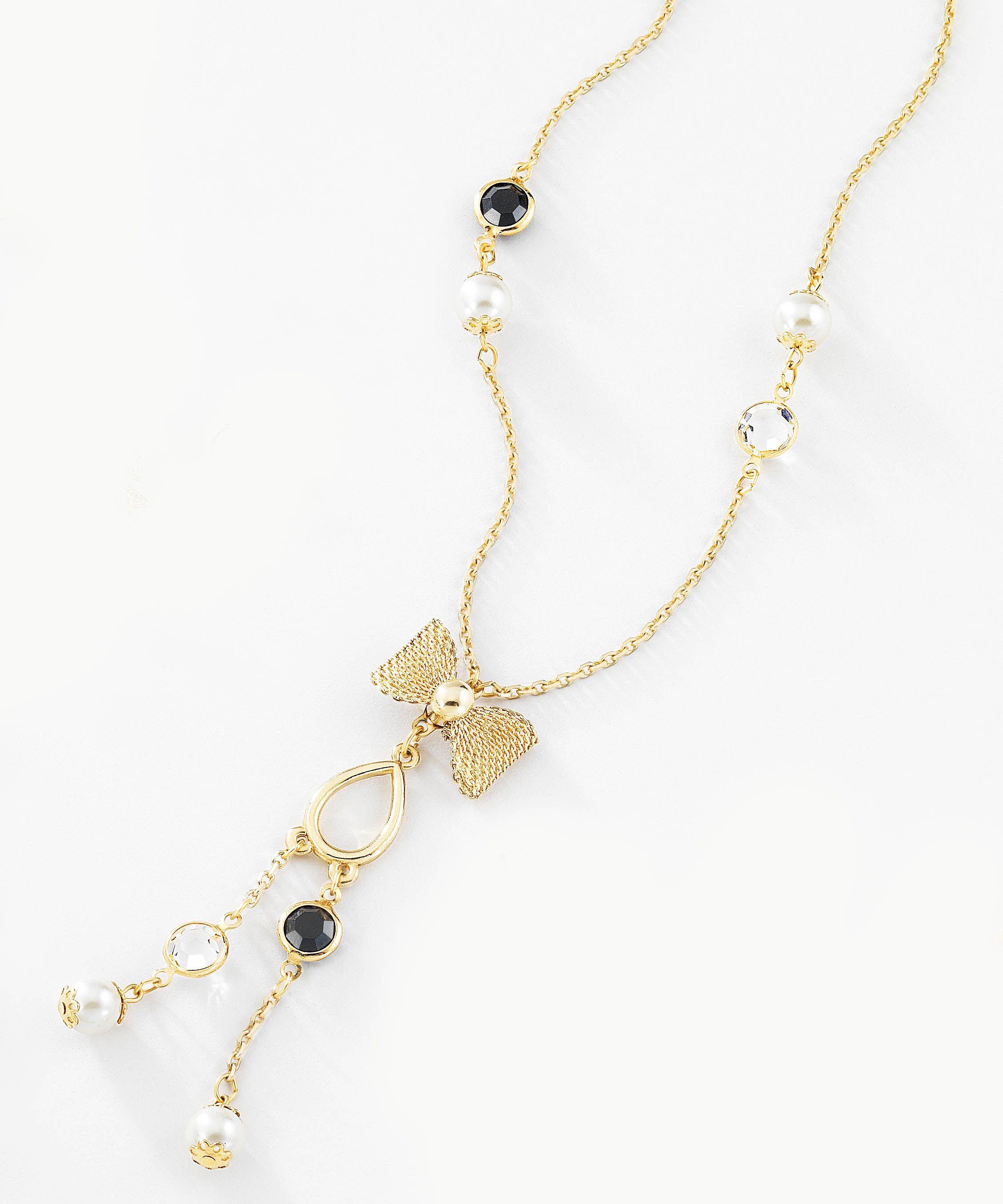 49b23bebd0a9 Collar largo en 4 baños de oro de 18 kt con perlas blancas y piedras de  cristal transparente y negro a lo largo del collar