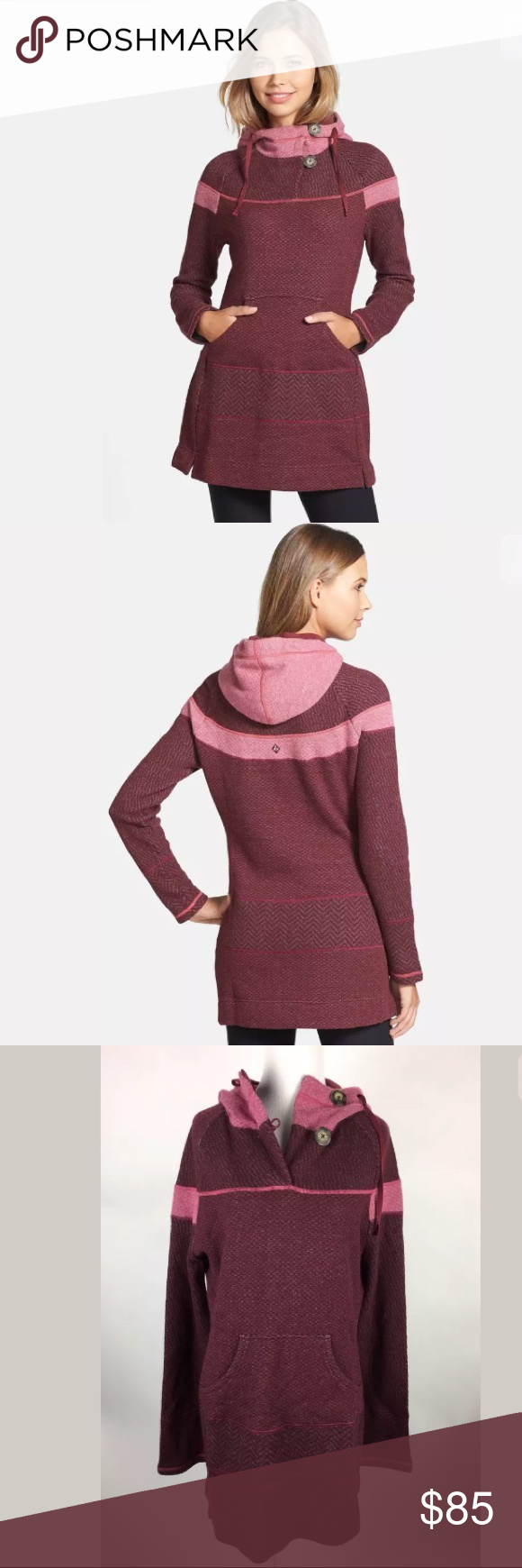 PrAna Maroon Pink Hooded Caitlyn Sweater Dress prAna Pomegranate ...