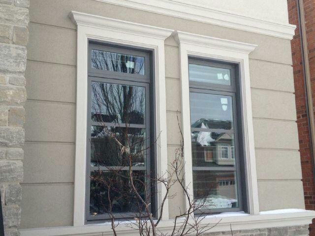 Custom exterior window trim design with header pediment for Exterior window pediments