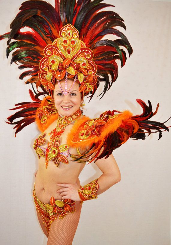 Samba Bresilien Orange Rio Carnaval Samba Danse Costume Bikini