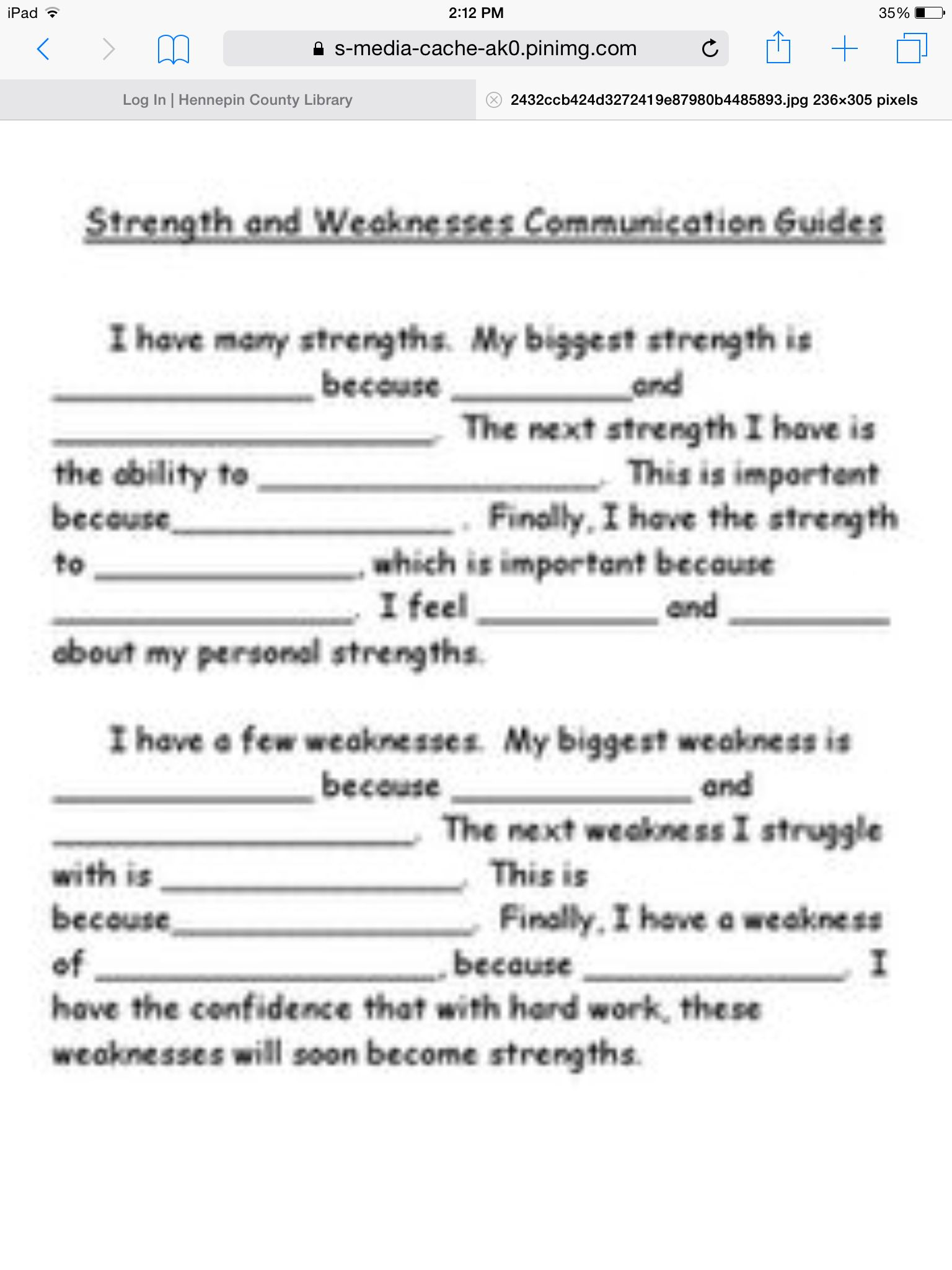Strengths And Weaknesses Display