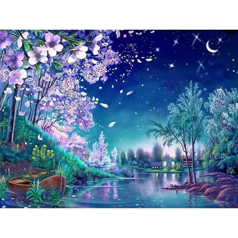 Photo of 5D Diamond Painting Blue Night Cherry – 50×60 cm