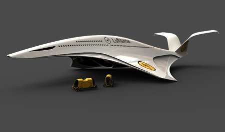••Victor Uribe Chacon's A350h•• side view • Dolphin-inspired airplane takes off vertically...to solve future airport problem for space •  eco-friendly, powered by cryogenic hydrogen contained in high-pressure tanks • Uribe's blog: http://victoruribedesign.blogspot.com