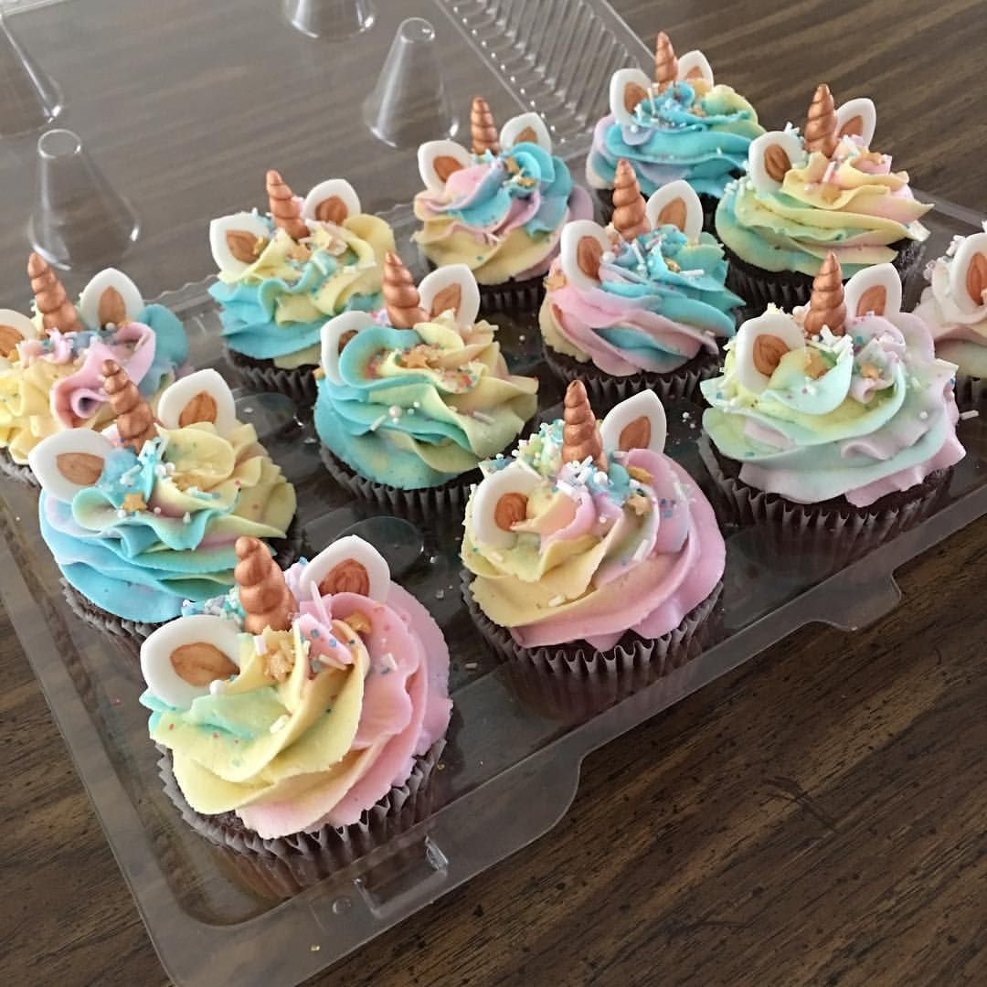 Unicorn cupcakes made by Play Date Cupcakes in Hawaii