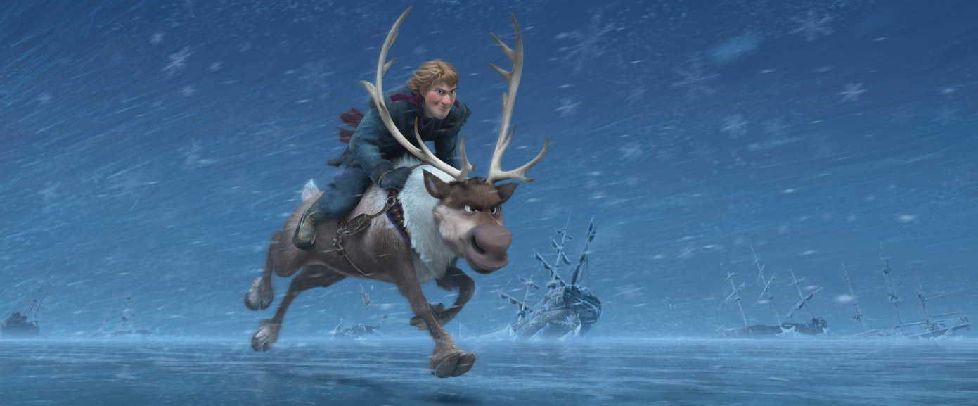 Kristoff rides his faithful reindeer, Sven, in this first ...