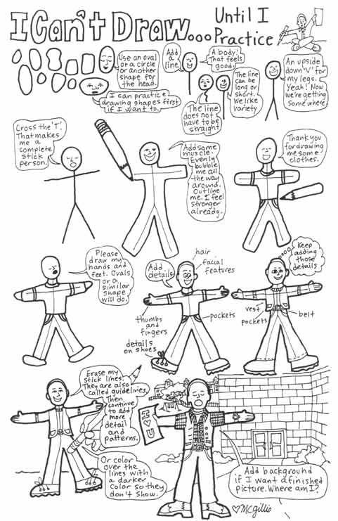 Learn to draw people starting with a stick figure. Good lessons for beginners learning to draw.