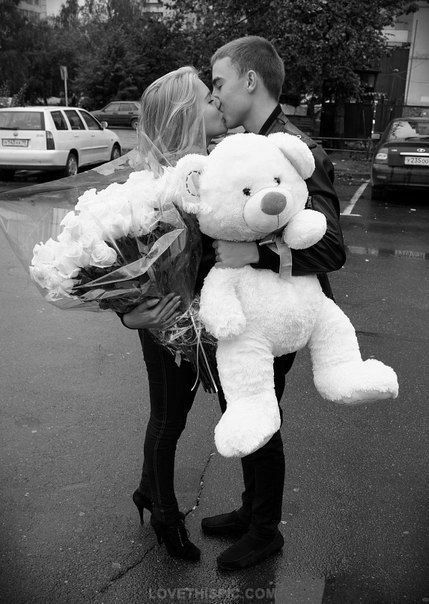 for you my love love relationships cute photography black and white couples kiss flowers teddy bear
