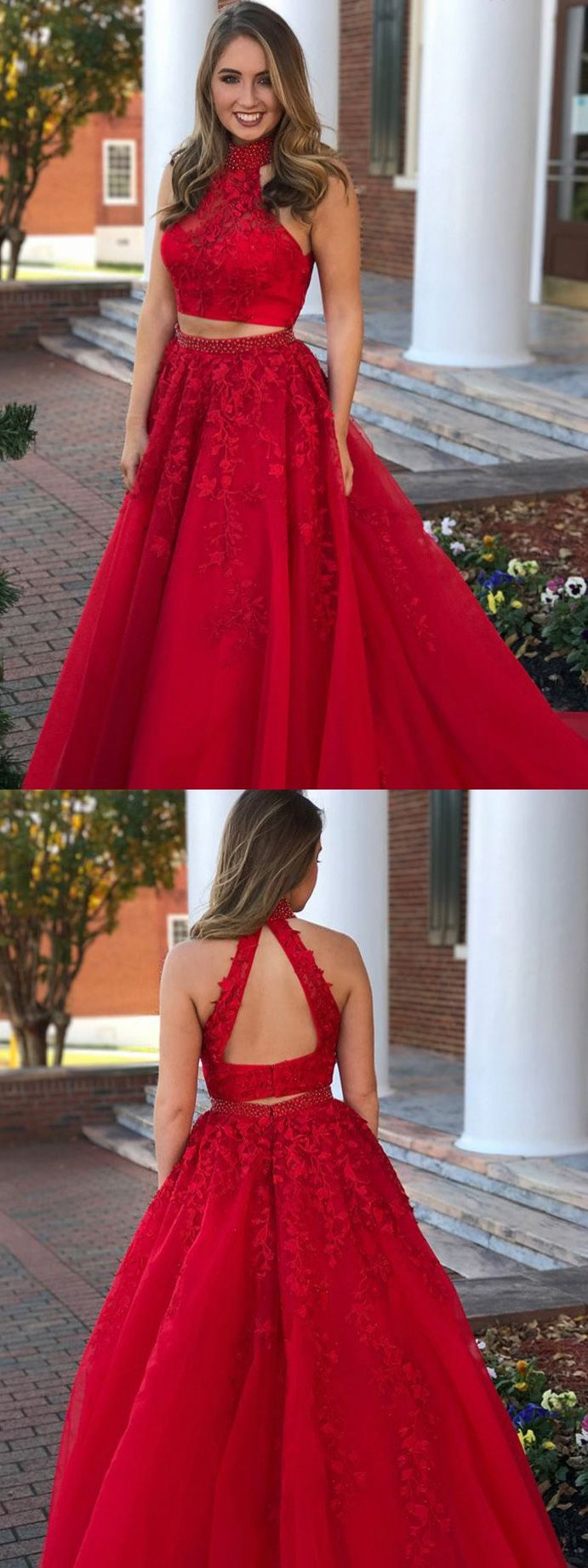 Charming two piece high neck open back beaded lace long red prom