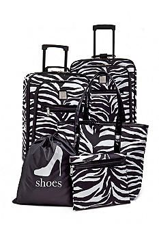 c8073699c6d5 New Directions® 5-Piece Luggage Set - Zebra with Black Patent Trim ...