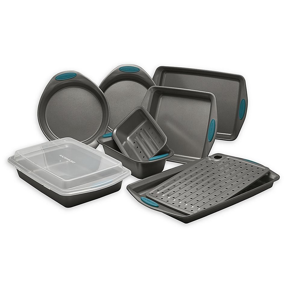 Rachael Ray Yum O Nonstick 10 Piece Bakeware Set In Grey