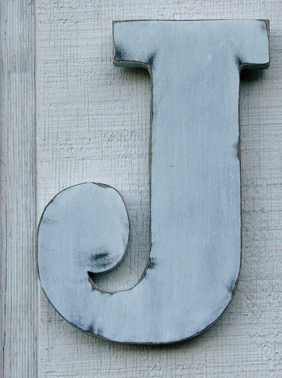 Large Wooden Letters Rustic Shabby Chic Letter J Distressed