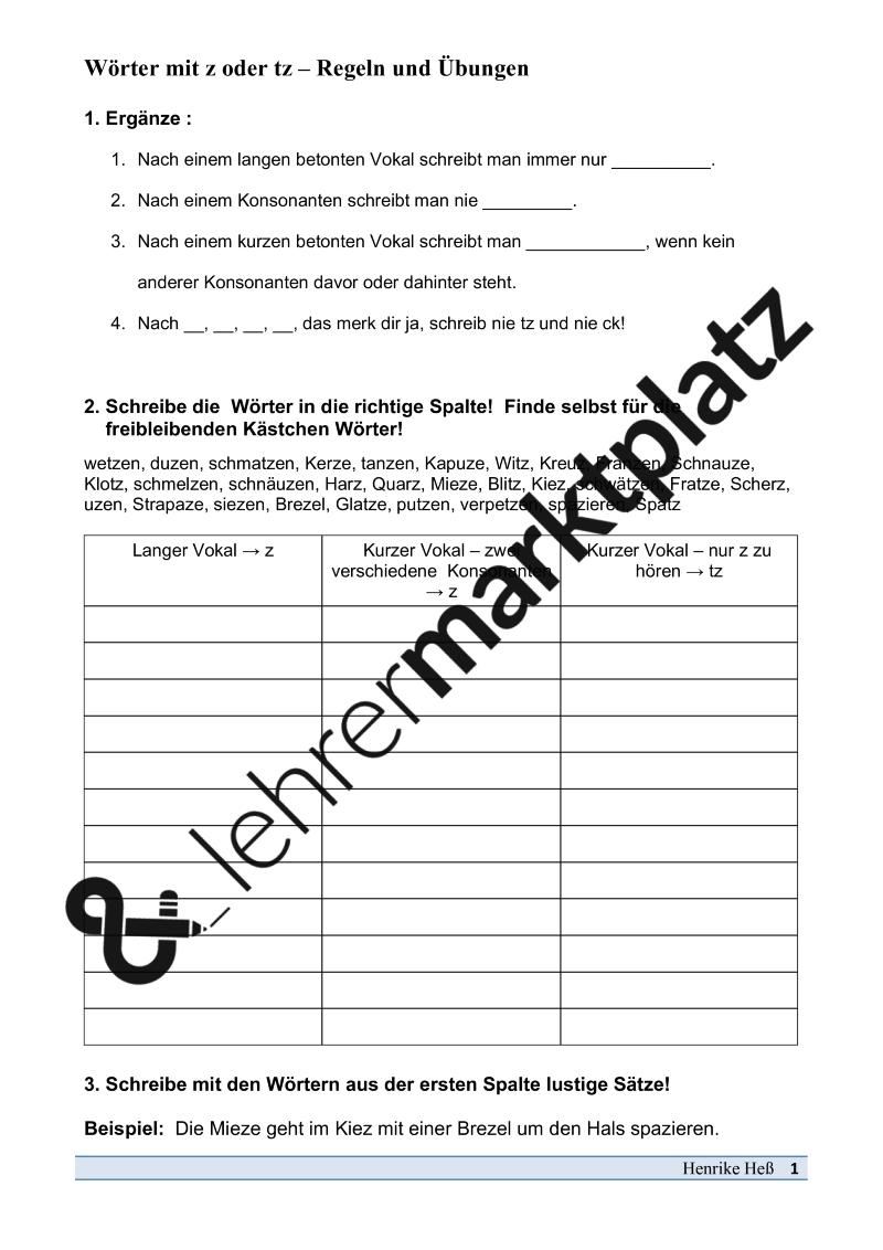 Wörter mit z oder tz - Regeln und Übungen – DaZ / DaF, Deutsch ...