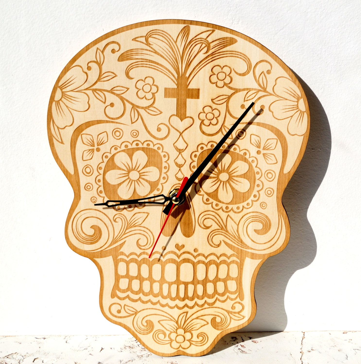 Wooden wall clock, sugar scull wall clock, day of the dead laser ...