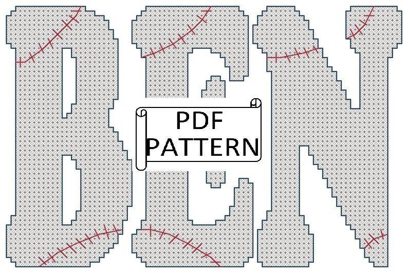 Baseball Name Sports Cross Stitch Pattern