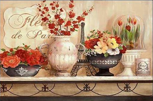 Nan: Fleurs De Paris Keilrahmen Bild Leinwand Blumen Garten Deko Landhaus  In Möbel U0026