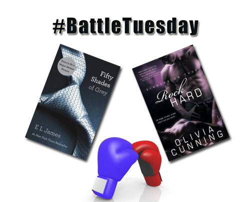 Feb. 10 2015 - On #BattleTuesday steamy romance novels take centre ring:  In the blue corner: Fifty Shades of Grey by E.L. James http://ow.ly/IOVKu   In the red corner: Rock Hard, Sinners on Tour by Olivia Cunning http://ow.ly/IOVWs   Who will be victorious? Stop giggling and POST YOUR REPLY BELOW.