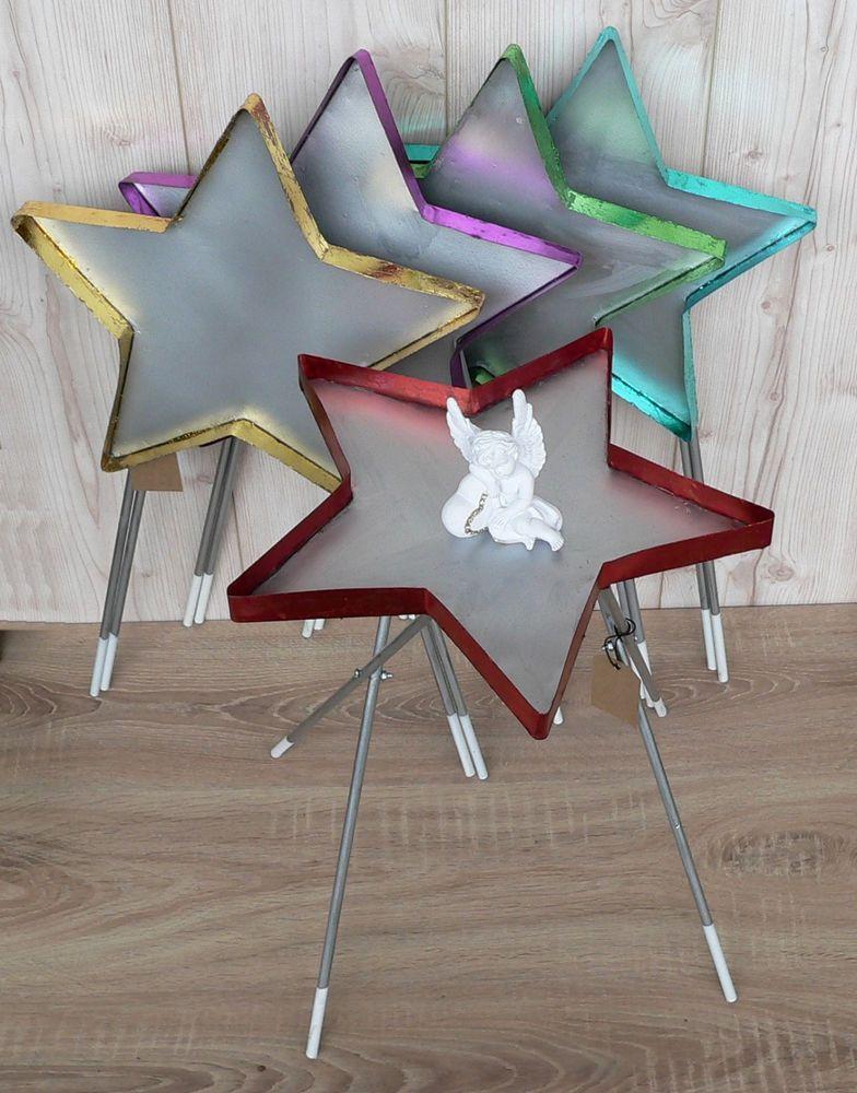 Details zu Beistelltisch Stern Metall rot gold türkis lila