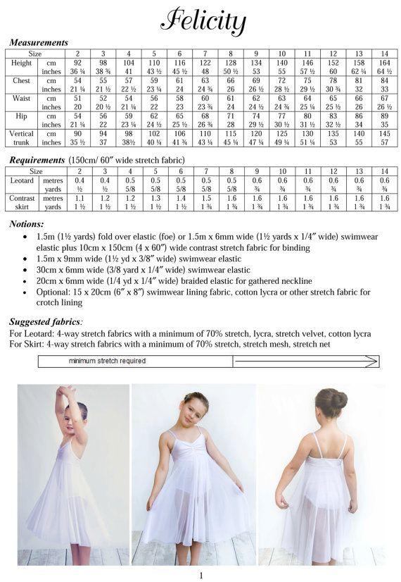 Felicity ballet leotard pattern dance costume pdf sewing pattern ...