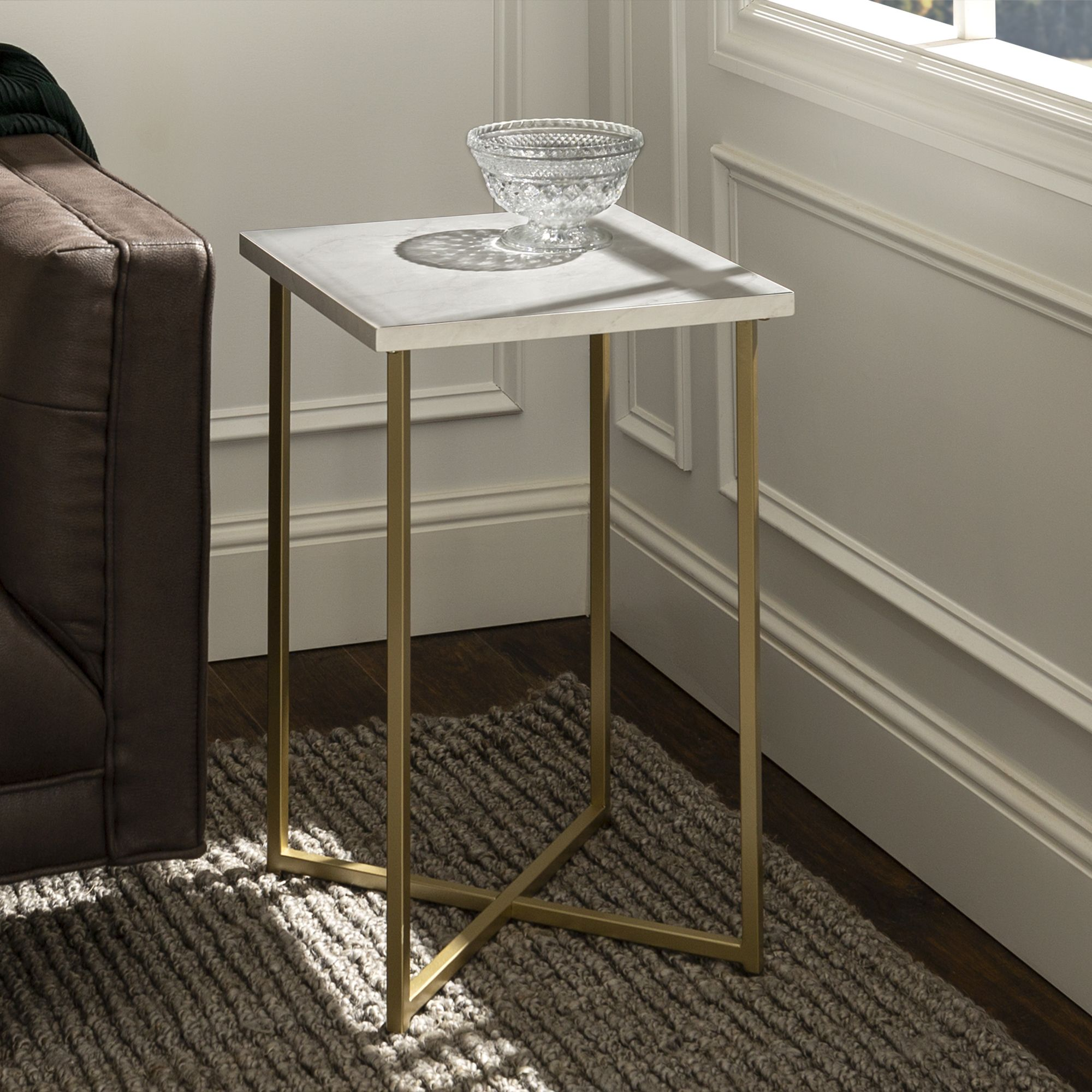 Home Living Room Accent Tables Square Side Table Gold End Table
