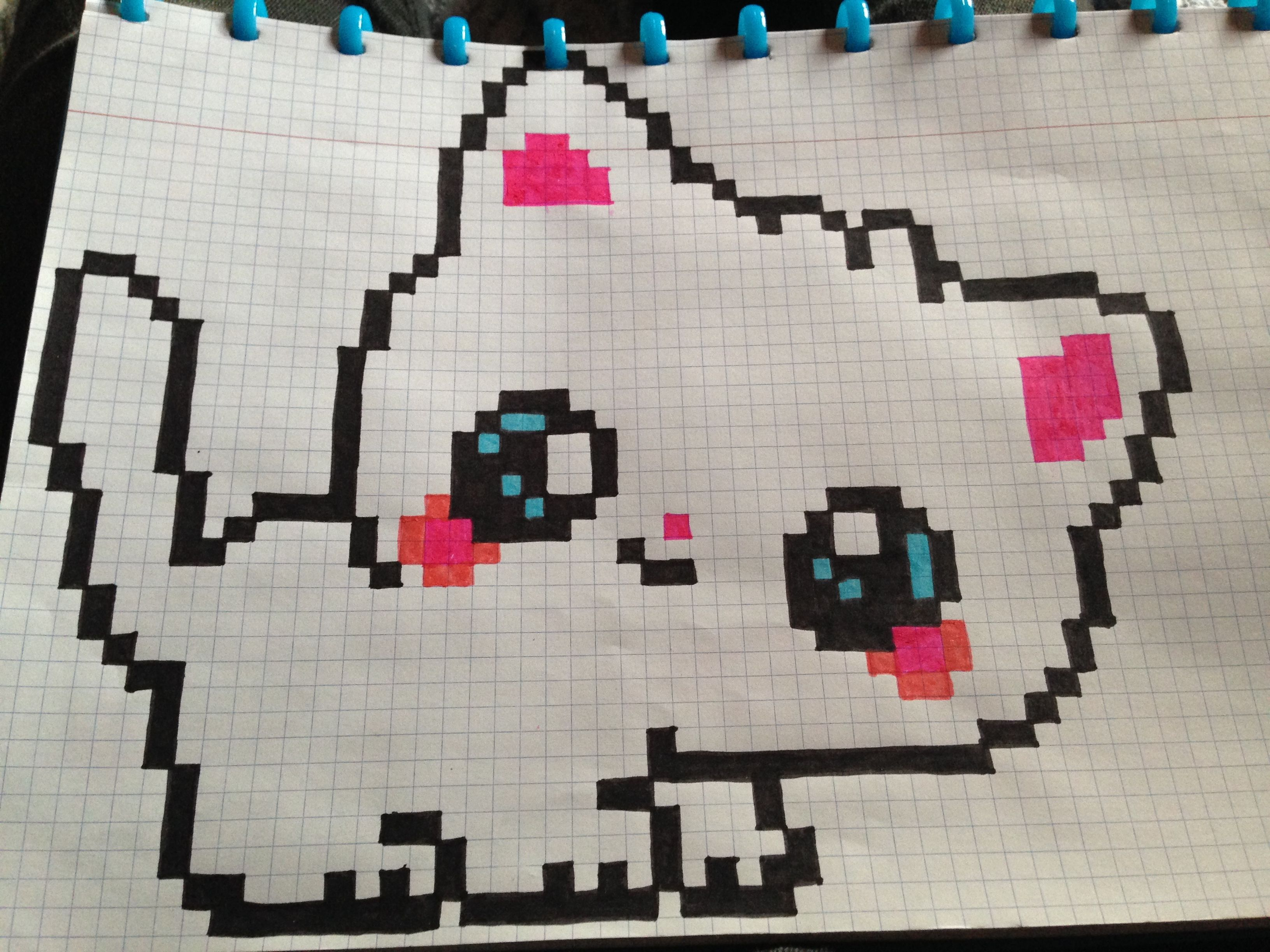 Chat Kawai Chat Kawaii Coloriage Pixel Art Dessin Pixel