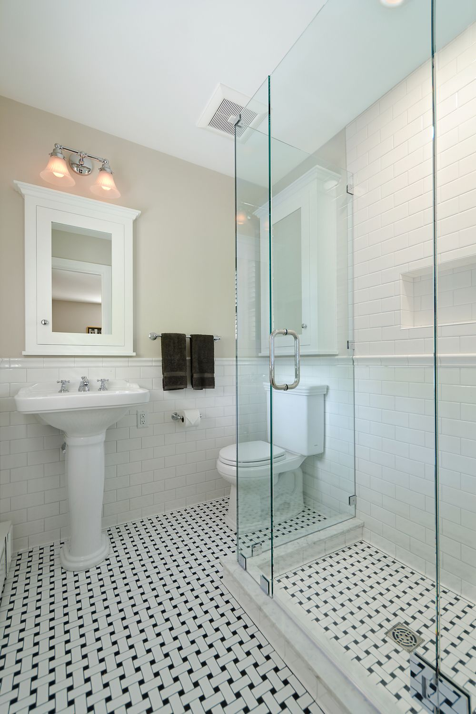 Coty Award Winning Bathroom Basketweave Tile Bathroom