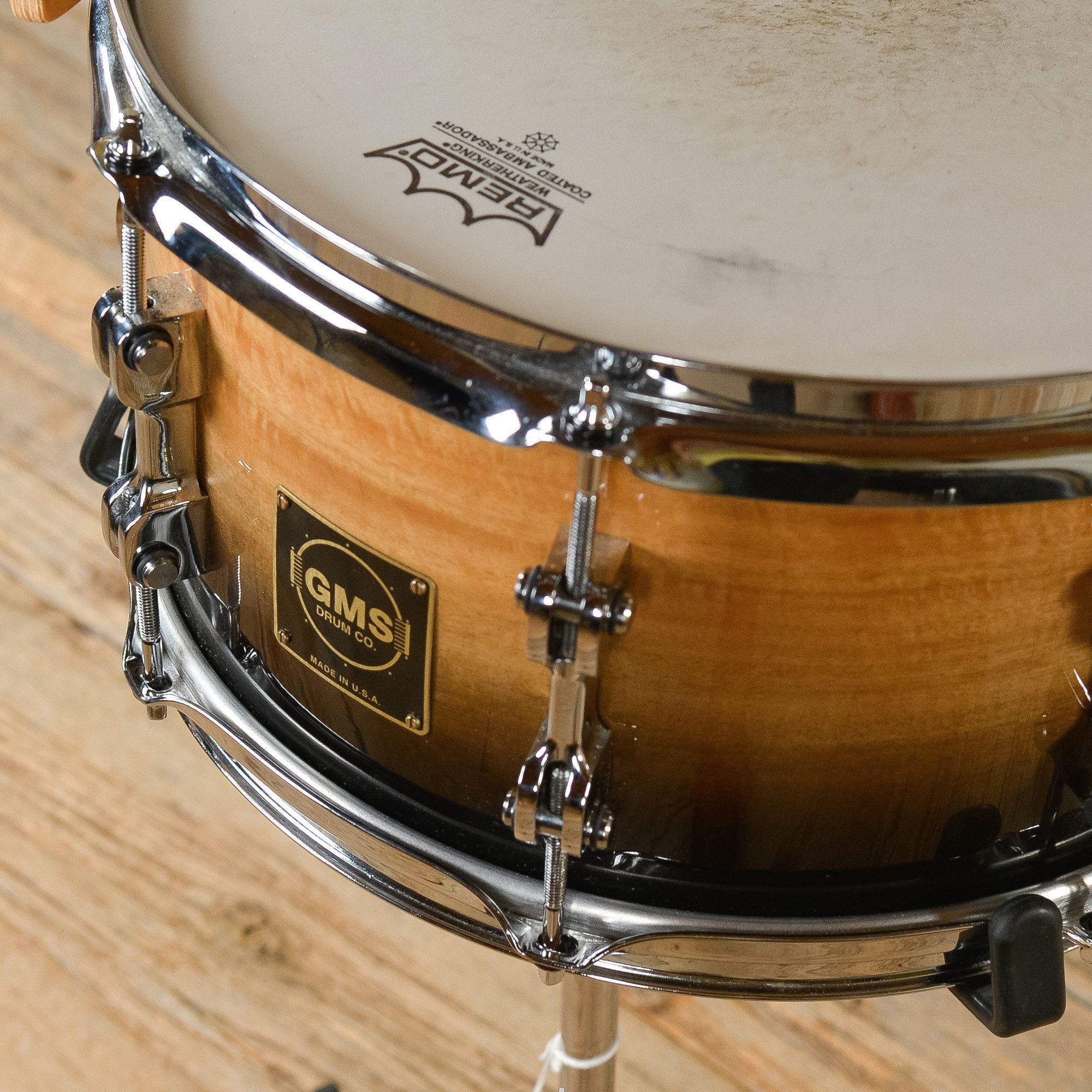 gms 7x13 snare drum maple eucalyptus natural to black used just arrived the coolest gear. Black Bedroom Furniture Sets. Home Design Ideas