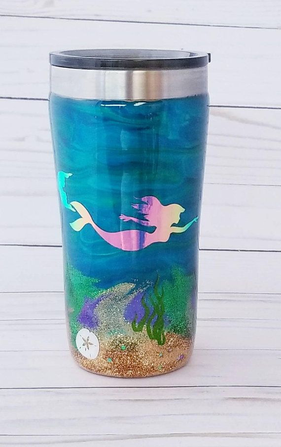a5df685903c Mermaid Tumbler - Ocean Tumbler - Custom Tumbler - Seahorse - Alcohol Ink  Art - Mermaid Cup - Tumble