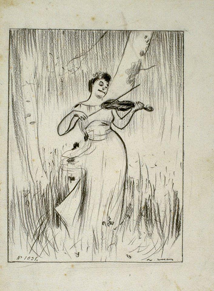 Ramon Casas. Caricatura del quadre «La música», de Josep Maria Tamburini. Cap a 1896.