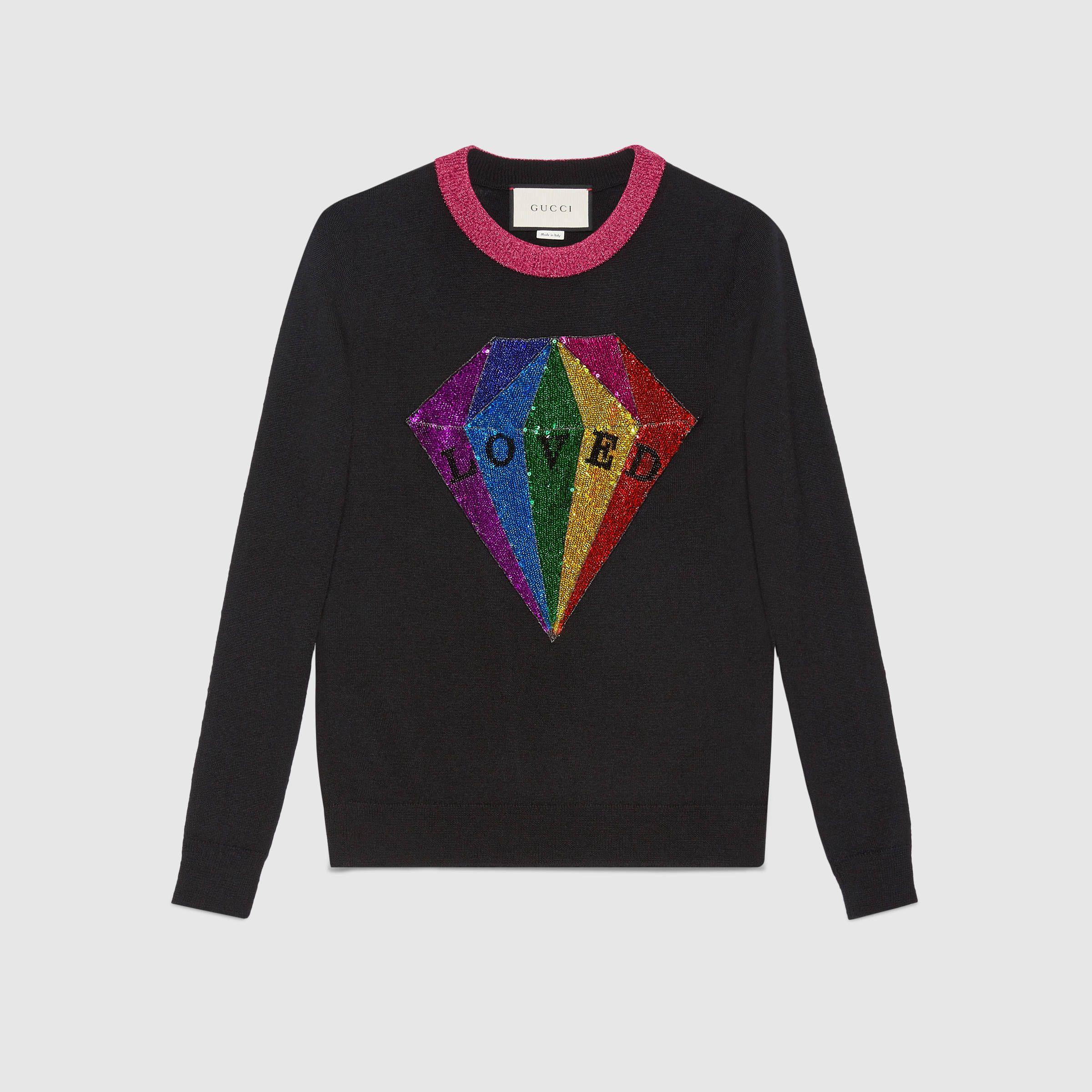 ff94ae0d Sequin diamond cashmere top | Dream Wardrobe | Gucci top, Diamond ...
