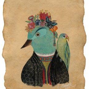Geninne D. Zlatkis y sus pájaros · Ilustración / Papel