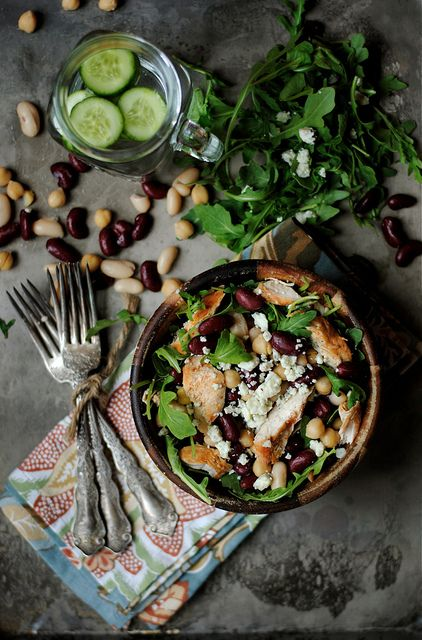 Spicy Three Bean Chicken Salad