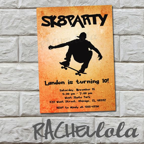 Skateboard Party Birthday Invitation Printable Digital